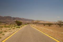 Camino en Wadi Araba Imagen de archivo libre de regalías