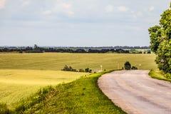 Camino entre campos verdes montañosos Torneado de la carretera de asfalto rural vieja foto de archivo