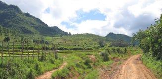 Camino entre las colinas tropicales Imagen de archivo