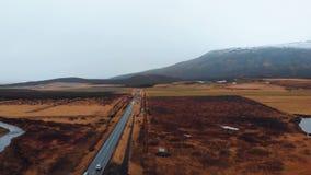 Camino escénico en la opinión aérea de la cantidad de Islandia metrajes