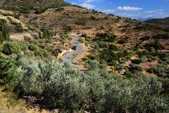 Camino escénico en las montañas peloponnese imagen de archivo libre de regalías