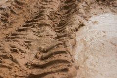 Camino fangoso de la selva de la opinión del ECU del nivel del suelo con la piscina cercana visible serrada del fango del tracsk  Fotos de archivo