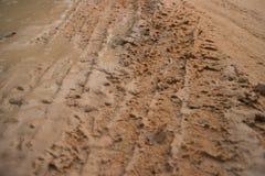 Camino fangoso horizontal de la selva de la opinión MCU de nivel del suelo con la pista de vehículo fresca Fotos de archivo libres de regalías