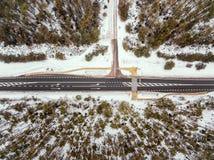 Camino forestal en la opinión del invierno desde arriba Imagenes de archivo