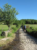 Camino Frances pilgrimage. Camino Frances hiking pilgrims, Saint James way Stock Photo