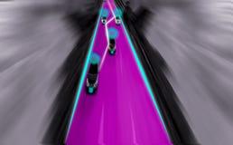 Camino futurista del genio para el uno mismo inteligente que conduce los coches, arte imagen de archivo