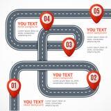 Camino Infographic con la ubicación Mark Elements Vector libre illustration