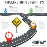 Camino Infographics de la cronología con Pin Pointers Fotos de archivo libres de regalías