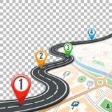Camino Infographics de la cronología con Pin Pointers Imagenes de archivo