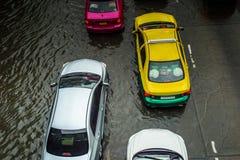 Camino inundado en día lluvioso Imágenes de archivo libres de regalías