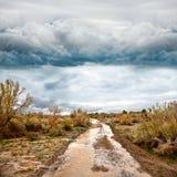 Camino inundado en pradera y cielo dramático Imágenes de archivo libres de regalías