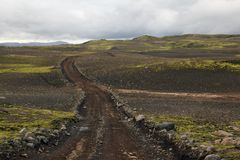 Camino islandés a Lakagigar Foto de archivo