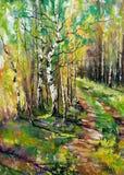 Camino a la madera del otoño Stock de ilustración