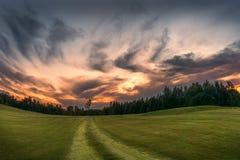 Camino a la puesta del sol Foto de archivo libre de regalías