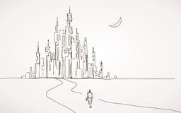 Camino a las ciudades futuras ilustración del vector