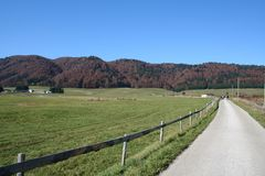 Camino a las colinas rojas Fotografía de archivo libre de regalías