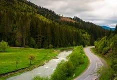 Camino a lo largo del río cerca del bosque en la ladera fotografía de archivo