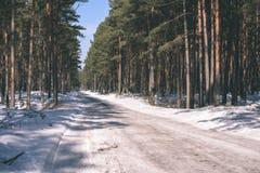 camino nevoso del invierno cubierto en nieve profunda - la apariencia vintage corrige Fotos de archivo libres de regalías