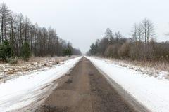 Camino nevoso del país en invierno Imagen de archivo