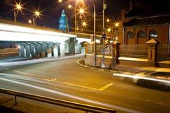 Camino ocupado de la noche Imagenes de archivo