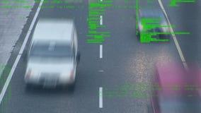 Camino ocupado y códigos de programa almacen de metraje de vídeo