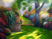 Camino original de la pintura al óleo Fotografía de archivo
