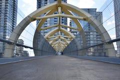 Camino peatonal sobre vías del tren Foto de archivo