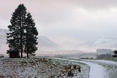 Camino que lleva hacia paisaje del moutain en invierno Foto de archivo libre de regalías