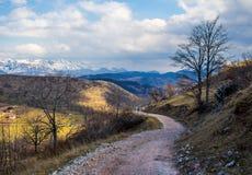 Camino que recorre en las montañas Fotografía de archivo