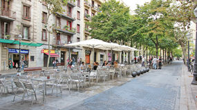 Camino Ramblas Poblenou Street Restaurant Seating Stock Photography