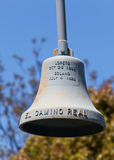 Camino Real Bell. The Camino Real Association placed 100 pound bells every mile of the route of the old Highway 101 known as El Camino Real Royalty Free Stock Images
