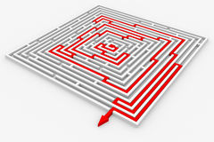Camino rojo del laberinto. Manera correcta. Imagenes de archivo