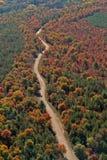 Camino rural aéreo del otoño de Wisconsin Fotografía de archivo libre de regalías