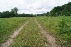 Camino rural en campo cerca de árboles y del cielo azul Fotos de archivo