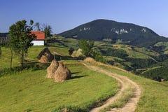 Camino rural en la granja de la montaña fotografía de archivo
