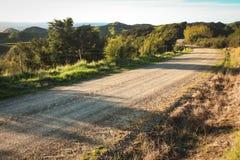 Camino rural Metalled con la cerca del bastón y de alambre, península de Mahia, isla del norte, Nueva Zelanda foto de archivo