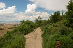 Camino Santiago at the height of forgiveness. Spain royalty free stock image