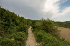 Camino Santiago at the height of forgiveness. Spain stock image