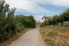 Camino Santiago at the height of forgiveness. Spain royalty free stock photography