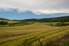 Camino Santiago at the height of forgiveness. Spain royalty free stock photos