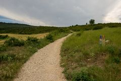 Camino Santiago at the height of forgiveness. Spain stock photography