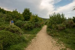 Camino Santiago at the height of forgiveness. Spain stock images