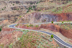 Camino serpentino abajo al rey del gran de Valle, Gomera Foto de archivo