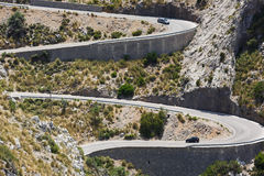 Camino serpentino a Sa Calobra, Mallorca Imágenes de archivo libres de regalías