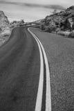 Camino solo del desierto - blanco y negro Imagen de archivo libre de regalías