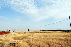 Camino solo en Extremadura, España Foto de archivo
