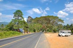 Camino a través de la selva tropical de Khao Sok Park, Tailandia Imagen de archivo