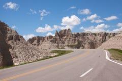 Camino a través de los Badlands Foto de archivo libre de regalías
