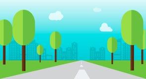 Camino a través de una ciudad con el árbol y el vector plano del estilo Fotografía de archivo