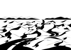 Camino a través del desierto Paisaje de la historieta Imagen de archivo libre de regalías